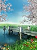 Fluss mit einem Dock Lizenzfreie Stockfotografie