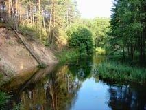 Fluss mit Reflexion auf dem Wasser und den Bäumen im Hintergrund und den Wolken auf dem Himmel stockbild