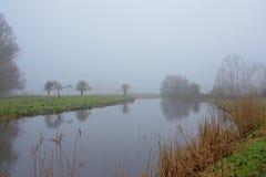 Fluss mit Schilf und Bäume, die im Wasser in einem nebeligen Marschland sich reflektieren Lizenzfreie Stockbilder