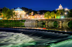 Fluss PO großartiges Madre Turins (Torino) Lizenzfreies Stockbild