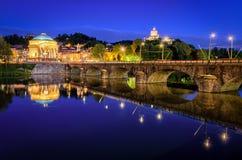 Fluss PO großartiges Madre Turins (Torino) Stockbilder