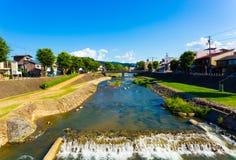 Fluss-Präfektur Gifu-Tageszeit H Takayama Miya-Gawa lizenzfreies stockfoto