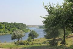 Fluss Saksagan in Ukraine Stockfotografie
