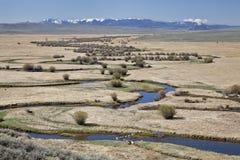Fluss schlängelt sich im Nordpark, Kolorado Stockfoto