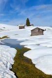 Fluss, Schlag und Schneehügel in den Alpen Lizenzfreie Stockfotografie