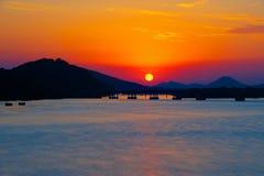 Fluss-Sonnenuntergang Lizenzfreie Stockfotografie