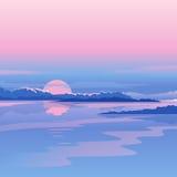 Fluss-Sonnenuntergang-Landschaft Lizenzfreie Stockbilder