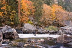 Fluss-Steine im Merced Fluss Stockfotos