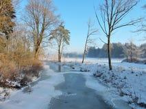 Fluss Sysa im Winter, Litauen Stockfotografie
