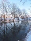 Fluss Sysa im Winter, Litauen Lizenzfreie Stockbilder