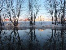 Fluss Sysa im Winter, Litauen Lizenzfreies Stockfoto