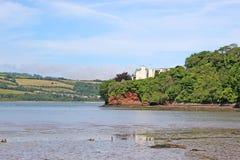 Fluss Teign, Devon bei Ebbe stockfotografie