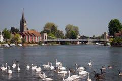 Fluss Themse bei Marlow England Lizenzfreies Stockfoto