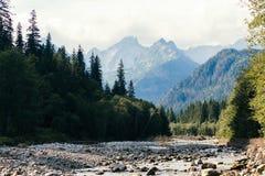Fluss und Berge, Seeauge, Polen, Zakopane Stockfotografie