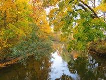 Fluss und bunte Herbstbäume, Litauen Lizenzfreie Stockfotos