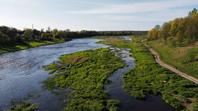 Fluss und Frühlingswaldlandsacape Stockfotografie