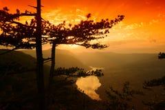 Fluss und Hügel von der Spitze des Berges im Sommer Stockfotografie