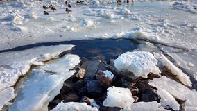 Fluss unter dem Eis Stockfotografie