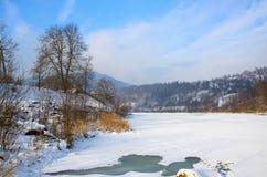Fluss unter dem Eis und ganz um fabelhafte schneebedeckte Koniferenfo lizenzfreies stockfoto
