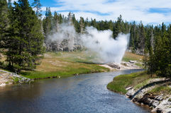 Fluss an Yellowstone Nationalpark Stockfoto