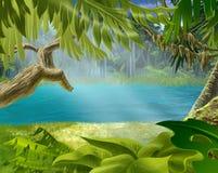 Flussbank mit Anlagen im tropischen Wald stock abbildung