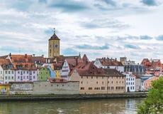 Flussbank in Regensburg Lizenzfreie Stockfotografie