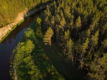 Flussbiegung im Wald auf dem Sonnenuntergang mit Reflexion Stockbild