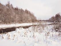 Flussbiegung im Winter Typische Winterlandschaft im contryside Lizenzfreie Stockfotos