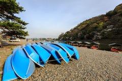 Flussboote für Miete. Stockfotografie