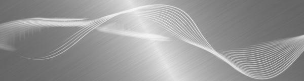 Flusseffektwellen Dynamische Bewegung unscharfe Linien Reflektierender gebürsteter Metallhintergrund Künstlerische Designillustra lizenzfreie abbildung