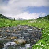 Flussfluß in hohe Berge stockbilder