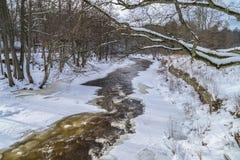 Flussfluß unter Eis im winer lizenzfreie stockbilder