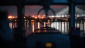 FlussFrachtschiff auf dem Fluss neva stock footage