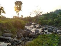 Flussi del fiume del sole di mattina Fotografia Stock