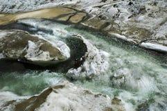 Flussi glaciali su un ghiacciaio della montagna. Immagini Stock