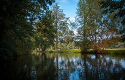Flusskanal im Spreewald lizenzfreie stockfotografie
