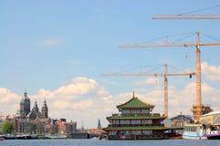Flusskanal von Amsterdam Stockbilder