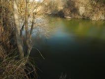 Flusslandschaft bei Sonnenuntergang Lizenzfreies Stockbild