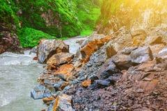 Flusslandschaft im Steintal Stockfotografie