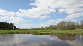 flusso calmo del fiume contro la foresta e le nuvole stock footage