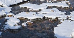 Flusso che scorre sotto la neve con i ghiaccioli Fotografie Stock Libere da Diritti