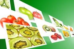 Flusso con le immagini delle verdure e delle frutta fotografia stock libera da diritti