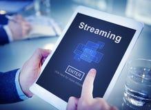 Flusso continuo del concetto di dati di trasferimento di media del computer di Internet immagine stock