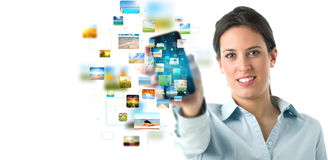 Flusso continuo della bandiera del telefono mobile immagine stock