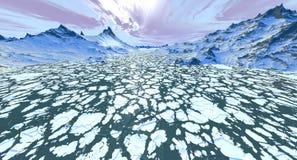 Flusso continuo delle banchise galleggianti di ghiaccio Fotografia Stock