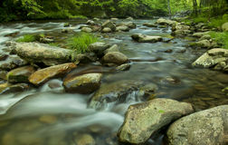 Flusso del fiume in TN, montagne fumose Immagini Stock Libere da Diritti