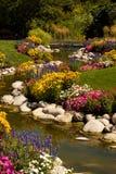 Flusso del giardino di fiore Fotografie Stock