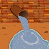 Flusso dell'acqua di scarico dal tubo per fognatura Fotografie Stock Libere da Diritti