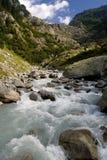 Flusso della montagna nelle alpi svizzere Immagine Stock