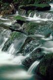 Flusso della montagna sopra le rocce muscose Fotografia Stock Libera da Diritti